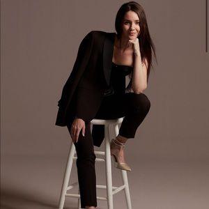 H&M Black Satin Collar Lapel Tuxedo Blazer Jacket
